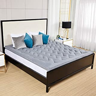D & G THE DUCK AND GOOSE CO Hotel Plush Mattress Topper, Z Style Down Alternative Fill Quality Bed Topper - Queen Size Grey