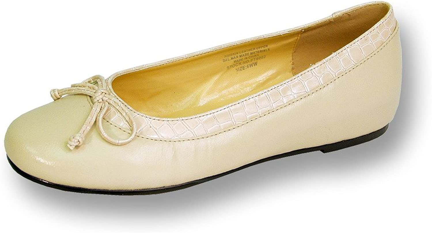 Peerage FIC Abby Women Wide Width Leather Flat for Casual Or Fancy Attire (Size & Measurement Guides)