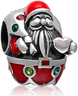 Christmas Santa Claus Charm Authentic 925 Sterling Silver Beads Xmas Gifts fit for Christmas Theme Bracelet & Necklace