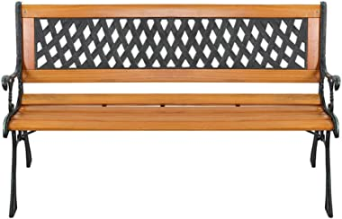 """YYAO Garden Bench Outdoor Patio Bench 50"""" Metal Bench Park Bench with Armrests Backrest,Hardwood Patio Furniture Bench fo"""