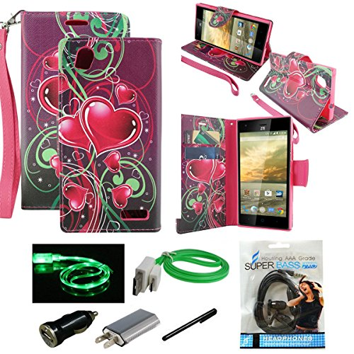 ZTE Warp Elite Case, Wallet Case Mstechcorp - Magnetic Leather Folio Flip Book Wallet Pouch Case Cover with Fold Up Kickstand for ZTE Warp Elite N9518 - Includes Accessories (Floating Hearts)