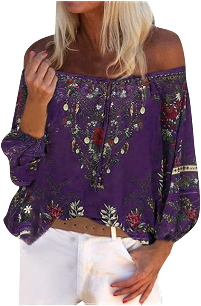 HebeTop Women's 2021 spring and summer new Floral Off The Casual Shoulder Animer and price revision Summer Shirt Tops