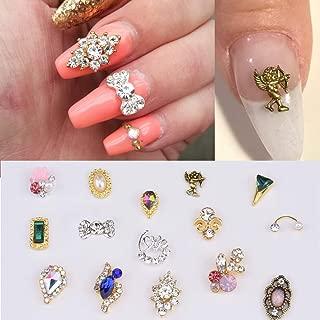 30pcs Nail Alloy Decorations with Rhinestones Pearl Crystal Diamond Gems Stones Nail Bows Charms Supplies