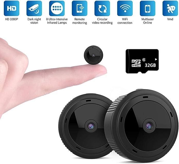Mini WiFi Cámara Espía1080P HD Mini WiFi Cámara Oculta Portátil Interior Visión Nocturna por Infrar Rojos Vigilancia Movimiento de iPhone/Android Phone/iPad/PC (con Tarjeta de 32G TF)