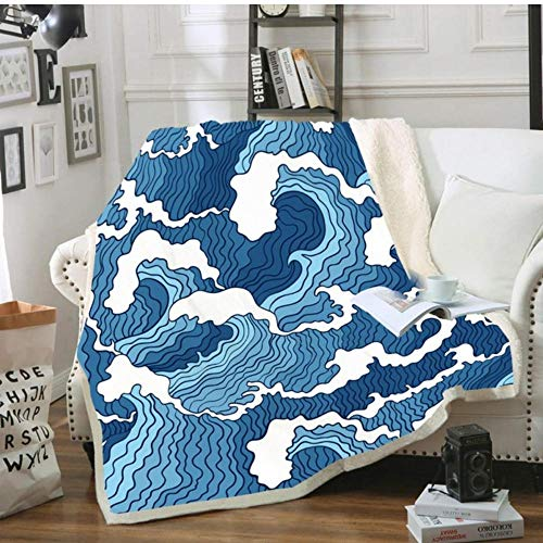 Sherpa Throw Blanket Summer Holiday Wave Print Hot Sofa Coral Warm Cozy Blanket Bed for Girls Boys Girls-S1_130x150cm