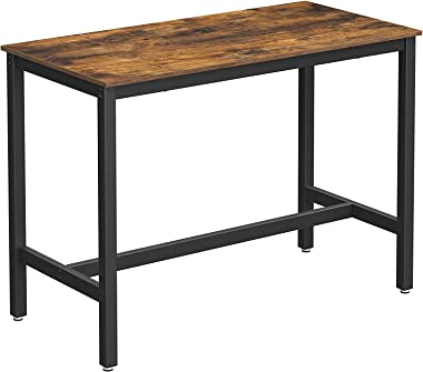 VASAGLE Bar Table, High top Table with Steel Frame, Multifunctional Desk for Dining Room or Living Room, Industrial Accent Fu