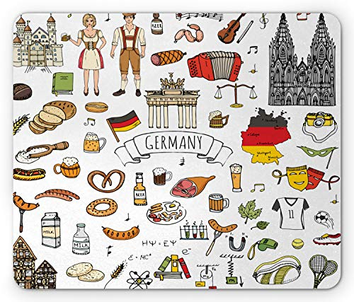 Ambesonne German Mouse Pad, Hand Drawn Doodle of German Culture Football Jersey Food Science and Music, Rectangle Non-Slip Rubber Mousepad, Standard Size, White Charcoal
