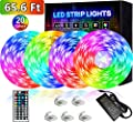 Led Strip Lights 65.6ft 20m Ultra-Long Led Lights for Bedroom, High-Brightness 5050 RGB Color Changing Room Lights for tv/Decorations, 12v Smart Dimmable Stardust Gaming Led Tape Lights with Remote