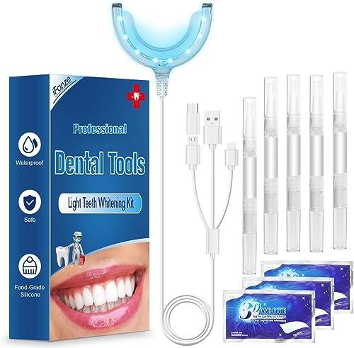 Kit de Blanqueamiento Dental Gel 5PCS ifanze Blanqueamiento de Dientes Luz*1, Blanqueador Dientes Tiras*3, Blanqueado...