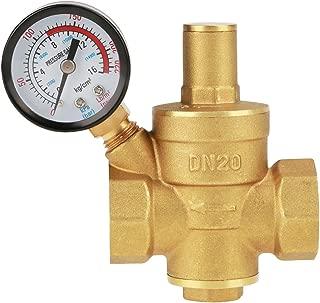 Pressure Reducing Valve, DN20 3/4inch Brass Water Pressure Reducing Valve 3/4'' Adjustable Water Control Pressure Regulator Valve Thread with Gauge Meter 1.6MPa