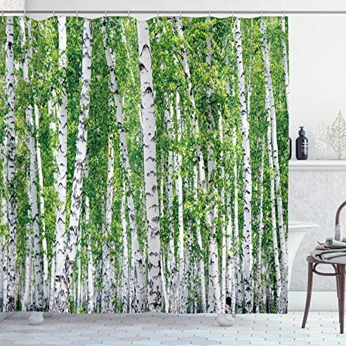 ABAKUHAUS Birke Duschvorhang, Frische Sommer-Blätter, Wasser Blickdicht inkl.12 Ringe Langhaltig Bakterie & Schimmel Resistent, 175 x 180 cm, Schwarz Grün