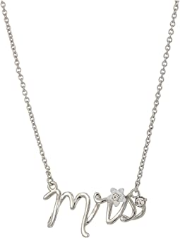 "Blue by Betsey Johnson Silver with Crystal and Flower Accented ""Mrs"" Necklace"