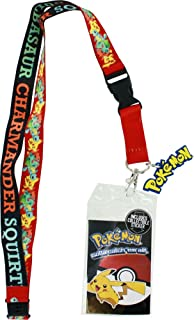 Pokemon Pikachu, Squirtle, Charmander, Bulbasaur Lanyard with ID Holder, Pokemon Logo Rubber Charm