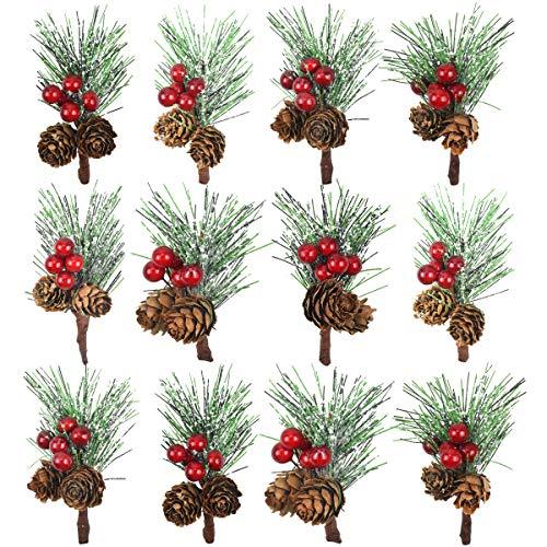 HQdeal 12 Stück Weihnachten Beere Tannenzweige künstliche Kiefernpflücker mit Roten Beeren und Tannenzapfen Zweige für Weihnachtsgestecke, Handwerk, Weihnachten Kranz und Girlande