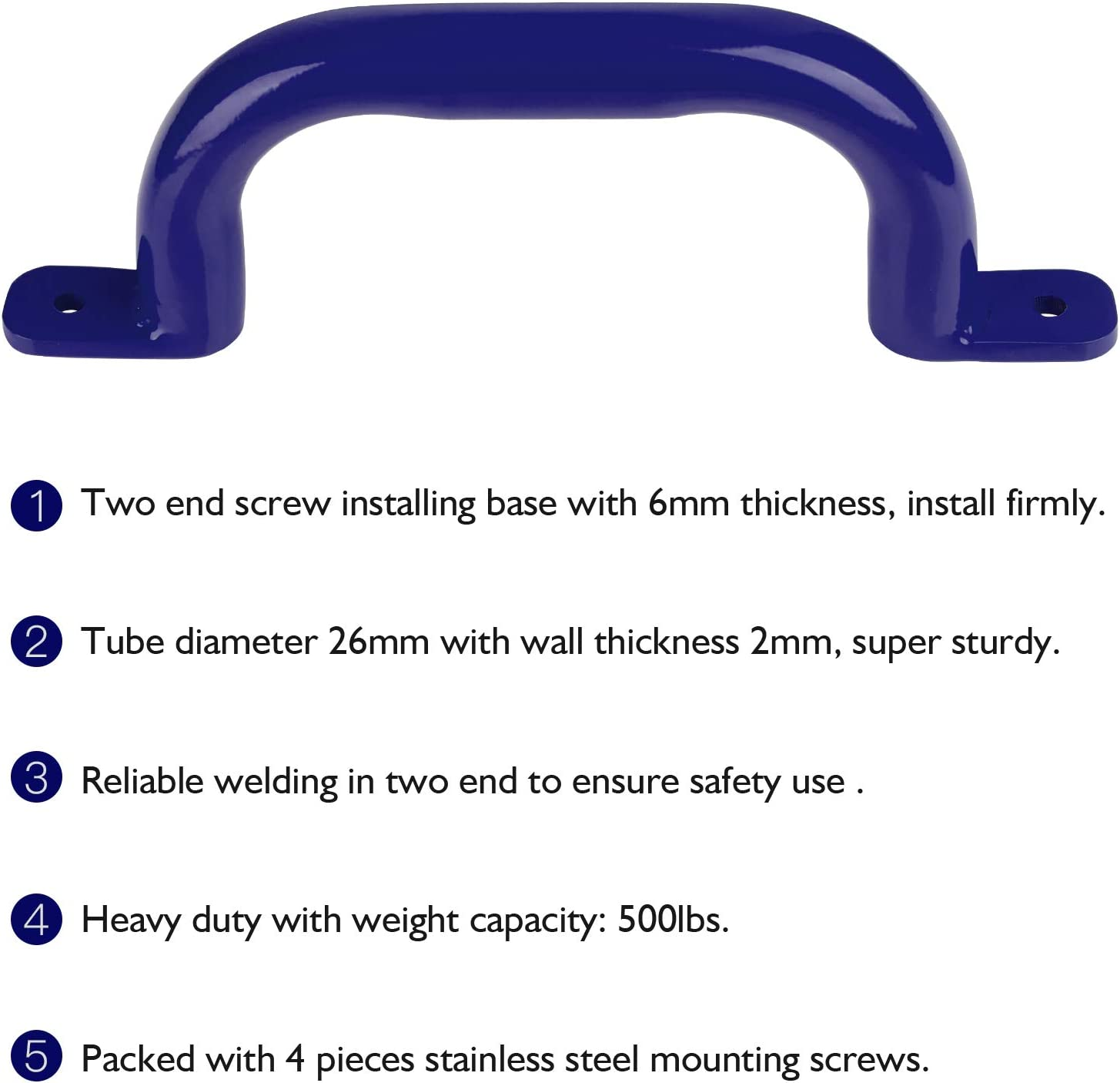 Kids Playset Handles Hand Grip Bar for Playhouse,Treehouse Climbing Frame Swing Set Accessories Pair-500LBS Jungle Gym Playground Grab Handles Purife 10 Metal Playground Safety Handles Blue