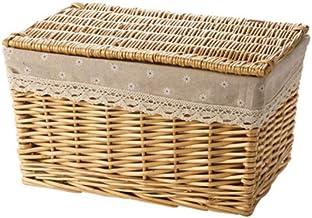 XinQing-Storage basket Wicker Desktop Storage Basket Woven Storage Basket Fabric Snacks Debris Storage Box Rectangular Wov...