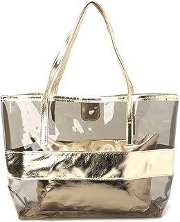 Generic Women Transparent Shopping Bags Jelly Clear Beach Handbag Tote Shoulder Bag Gold