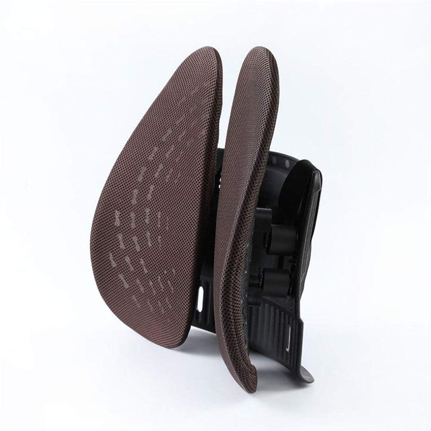 公然とオープナー驚いたことに腰枕 人間工学 椅子 デスクチェア 腰痛 姿勢 対策 メッシュ素材 車用 腰枕 取付バンド調節可能 洗える 介護用クッション (ブラウン)