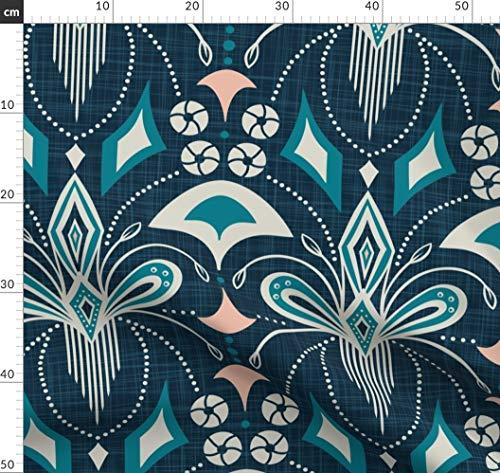 Geometrisch, Groß, Vintage, Art Deco, Jugendstil, Blau Stoffe - Individuell Bedruckt von...