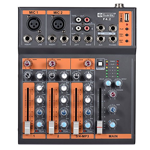 ammoon Mic Line Audio Mixer Mixing Console EQ USB Interface 48V Phantom Power with Power Adapter (4 Channels)