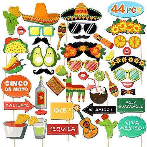Dsaren 44 Piezas Cabina de Fotos Cumpleaños Photo Booth Atrezzo para Fiestas de Verano, Bodas, Tropicales y Festivales