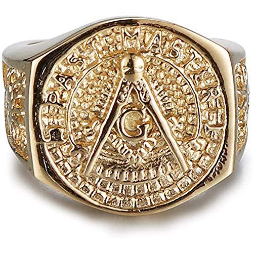 LH&BD Anillo de Punk Anillo masónico para Hombres Oro Gold Acero Inoxidable Freemason Anillo Freemasonery Jewelry,14