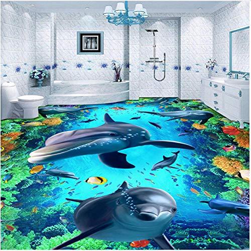 xbwy Custom Underwater World Dolphin Floor Mural Wallpaper Stickers Wear Non-Slip Waterproof Thickened Self-Adhesive Vinyl Wallpapers-280X200Cm