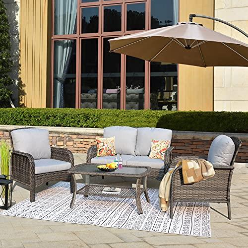 XIZZI Patio Sets, Outdoor Patio Furniture, All Weather Patio Furniture, PE Rattan Wicker (Gray Rattan-Gray Cushion)