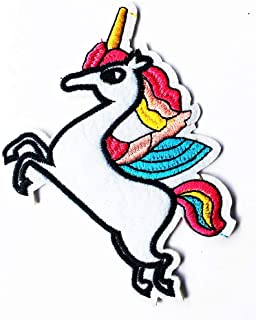 3X3 INCH Unicorn Horn Horse Wings Fly Fantasy Animal Cartoon Patch DIY Embroidered Iron On/Sew On Patch Logo for Clothes Bag T-Shirt Jeans Biker Badge Applique (Unicorn Fantasy 004)