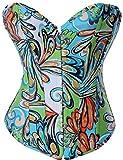 Alivila.Y Fashion Sexy Vintage Floral Denim Corset Bustier 2767-Green-XXL