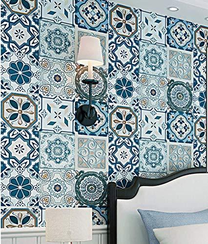 Behang met tegel-look, behang, achtergrond, behang, etnische bohemian keuken, mediterrane stijl, woonkamer slaapkamer 120 x 100 cm.