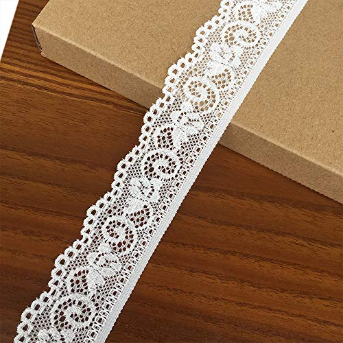 Olive Lace 1.2 inch Wide 5 Yards White Stretchy lace Ribbon Elastic Trim Fabric with Floral Pattern for Bridal Wedding Decorations, Sewing DIY Making and DIY Crafts (9009 White)