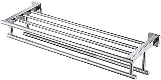 KES A2112 Étagère avec porte-serviettes à 2 barres Style minimaliste Finition poli-miroir Acier inoxydable
