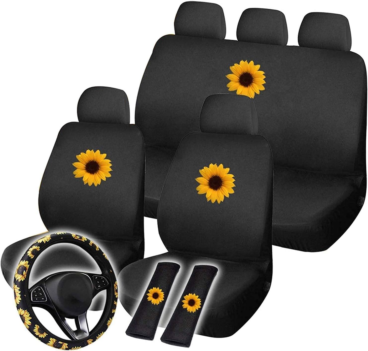 Jushom 12PCS Sunflower Car Seat Steering Wheel C Covers Set safety Luxury goods