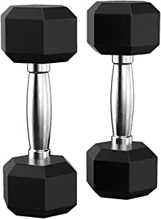 Websa_Barbell Set of 2 Hex Rubber Dumbbell with Metal Handles Pair of 2 Heavy Dumbbell【Shipped from The USA】