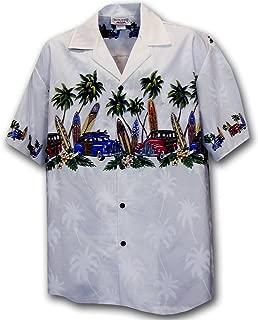 Hawaiian Aloha Shirt Island Woodies White (Made in Hawaii)