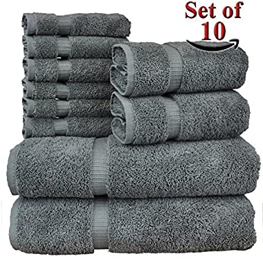 Luxury Hotel & Spa Towel Turkish Cotton Bundle 10 Piece Towel Set, Gray, 2 Bath Towels 27 X54  , 2 Hand Towels 16 X30  , 6 Wash Cloths 13 x13