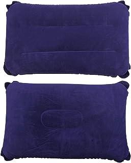 SelfTek Paquete de 2 almohadas inflables 2 estilos Cabeza Cuello Resto Cojín Blow Up Almohada para viajes al aire libre y acampar