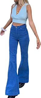 Y2K - Pantalones acampanados de cintura alta para niñas, color sólido, pantalones sueltos de pana con bolsillos para E-Girls