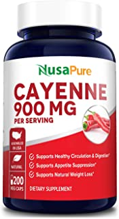 Cayenne Pepper 900mg 200 Veggie Capsules (Vegetarian, Non-GMO & Gluten-Free) - Supports Healthy Weight and Healthy Digesti...