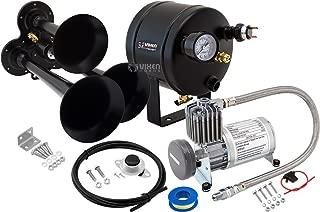 Vixen Horns Train Horn Kit for Trucks/Car/Semi. Complete Onboard System- 150psi Air Compressor, 0.5 Gallon Tank, 3 Trumpets. Super Loud dB. Fits Vehicles Like Pickup/Jeep/RV/SUV 12v VXO8805/3114B