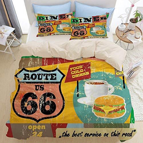 Juego de ropa de cama de 3 piezas, letrero de comedor nostálgico de la ruta 66, hamburguesa de café, bebida y comida en tonos grunge, juego de funda nórdica con cremallera de lujo moderno, la última f