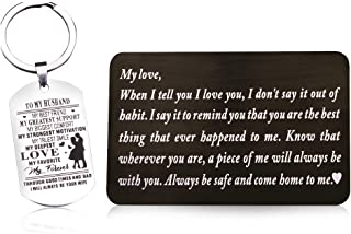 Laser Marking Stainless Steel Wallet Love Note Insert, Wallet Card Insert and Dog Tag Key Ring to My husband (set of 2)