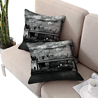 New York Square IKEA Pillow Covers,Black and White Panorama of New York City Skyline with Focus on Manhattan Bridge Photo Grey W14 xL14 2pcs Cushion Cases Pillowcases for Sofa Bedroom Car