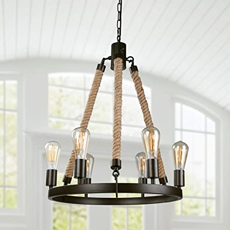 Lnc Farmhouse Chandeliers Rustic Round Wagon Wheel 6 Light Fixture With Rope For Dining Living Room Bedroom And Foyer