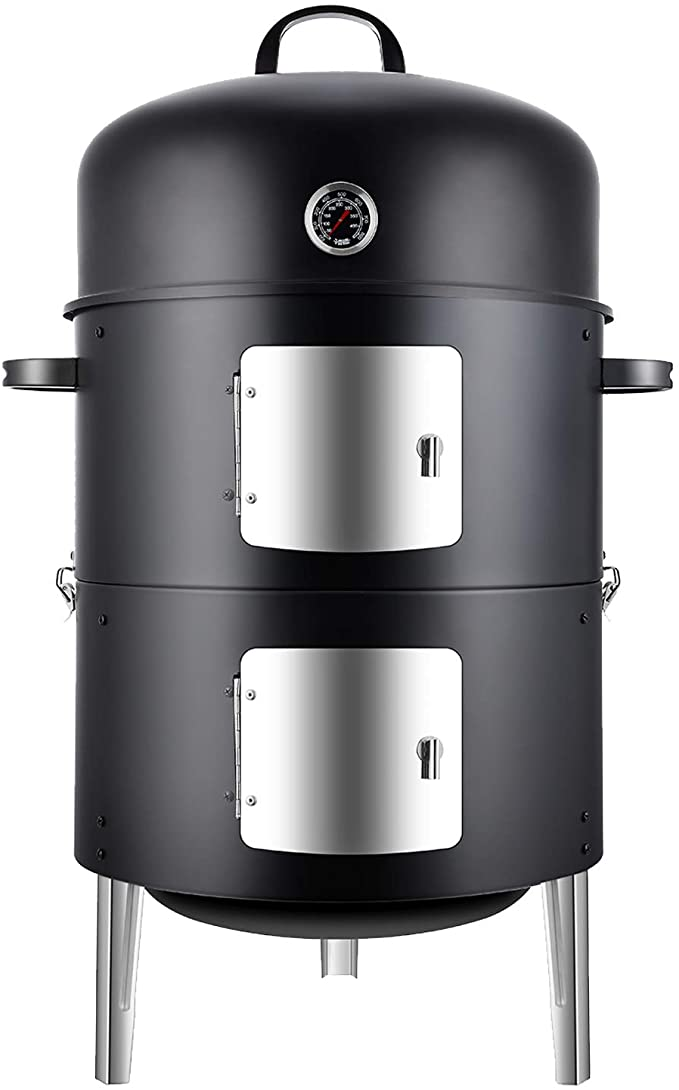 Realcook Vertical Steel Charcoal Smoker - Best Charcoal Smoker and Grill Combo