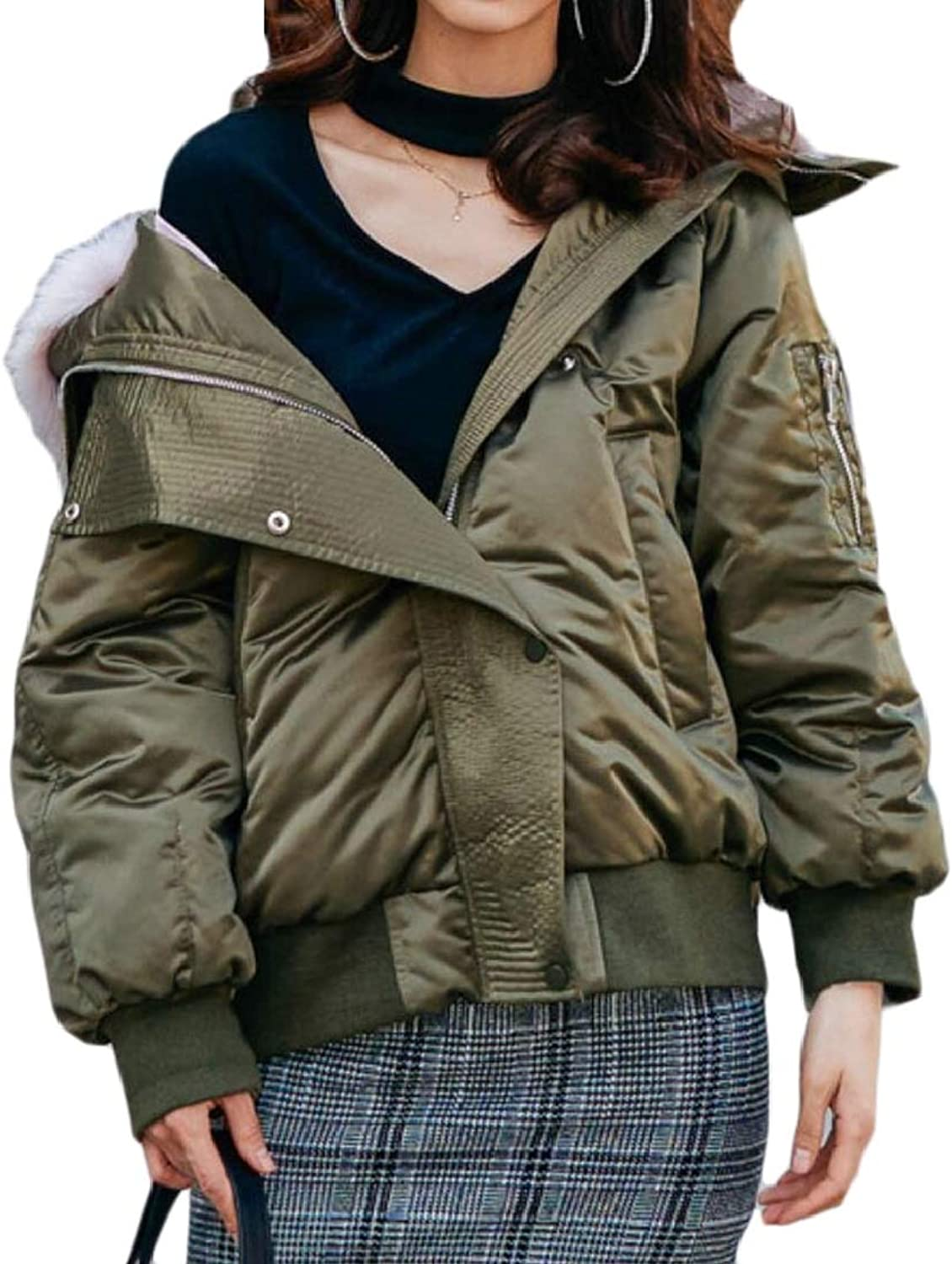QDCACA Women Thick FauxFur Collar Zip Relaxed Fit Quilted Down Jacket Coat