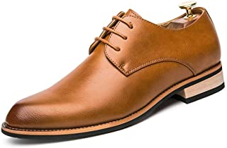 Shoes Comfortable Lace Up Style PU Leather Comfortable Round Toe Fashion Color Matching Oxford Shoes for Men Formal Shoes Fashion (Color : Brown, Size : 7.5 UK)