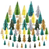 KUUQA 50Pcs Mini Christmas Village Trees Bottle Brush Trees Trees Sisal Snow Frosted Trees Tabletop Trees Mini Sisal Trees for Christmas Party Home Decorations Diorama Models