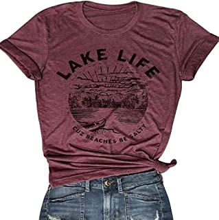 Lake Life T Shirt Women Cute Funny Graphic Tees Casual Short Sleeve Tops Summer Shirt